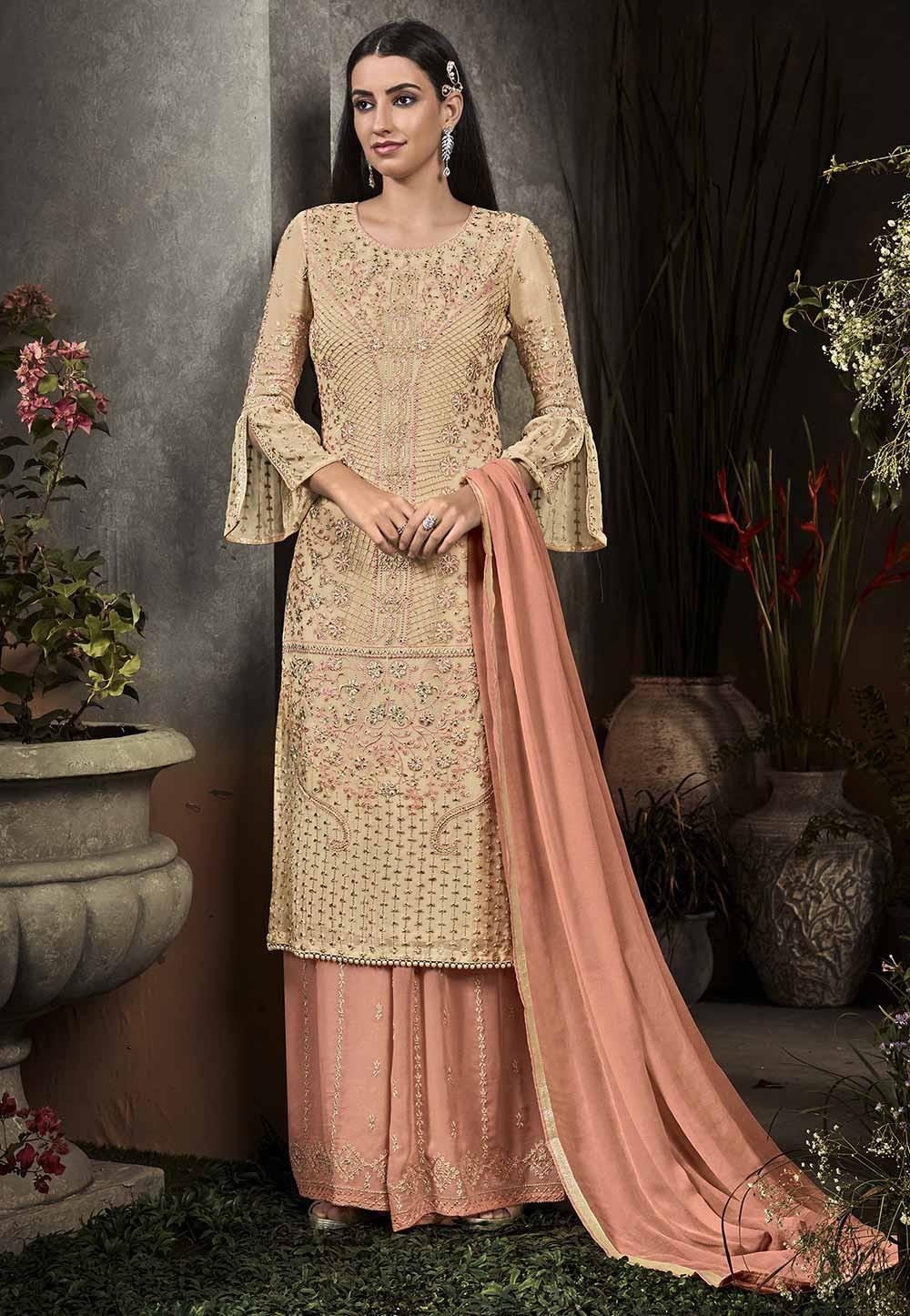 Beige Colour Designer Palazzo Suit.
