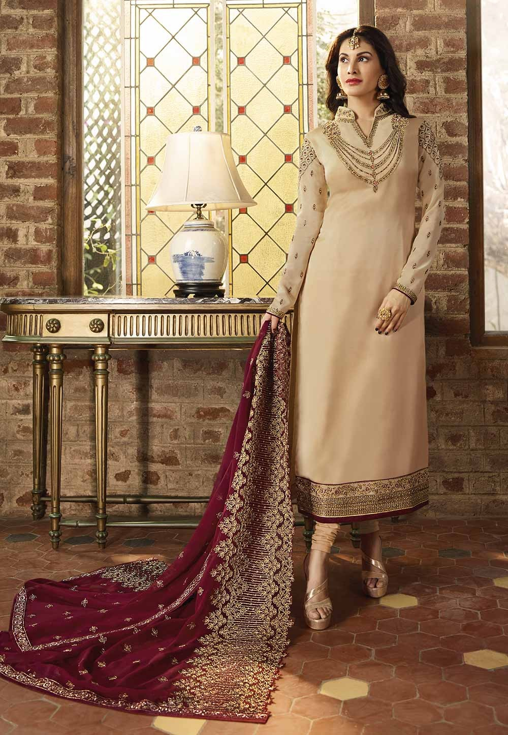 Cream Colour Embroidery Salwar Suit.
