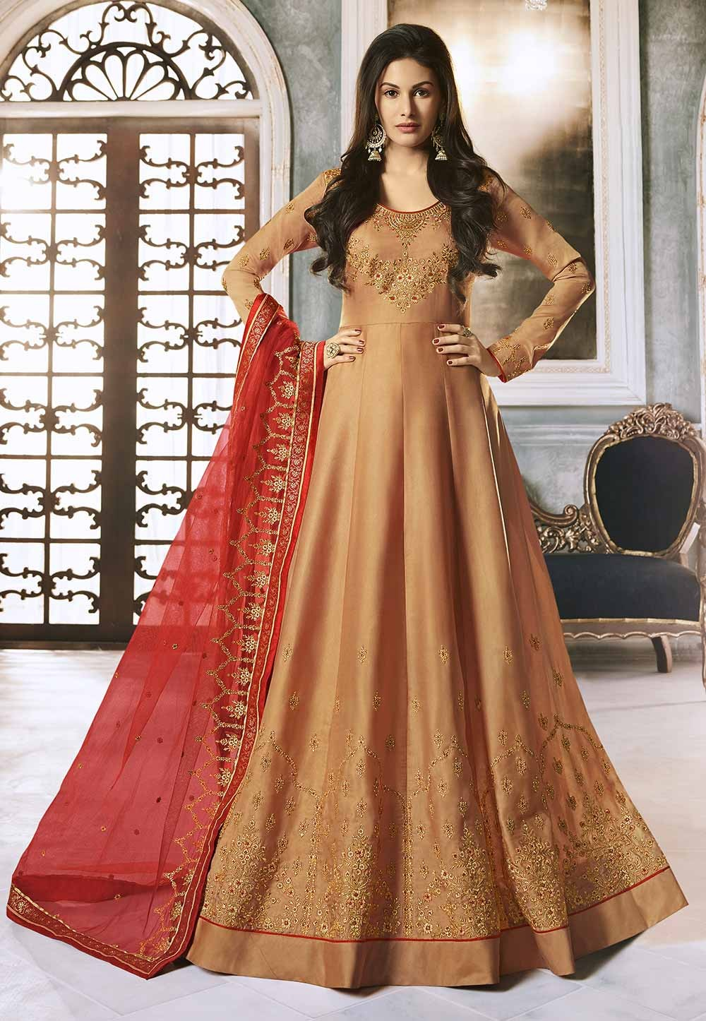 Peach Colour Georgette Anarkali Salwar Suit.