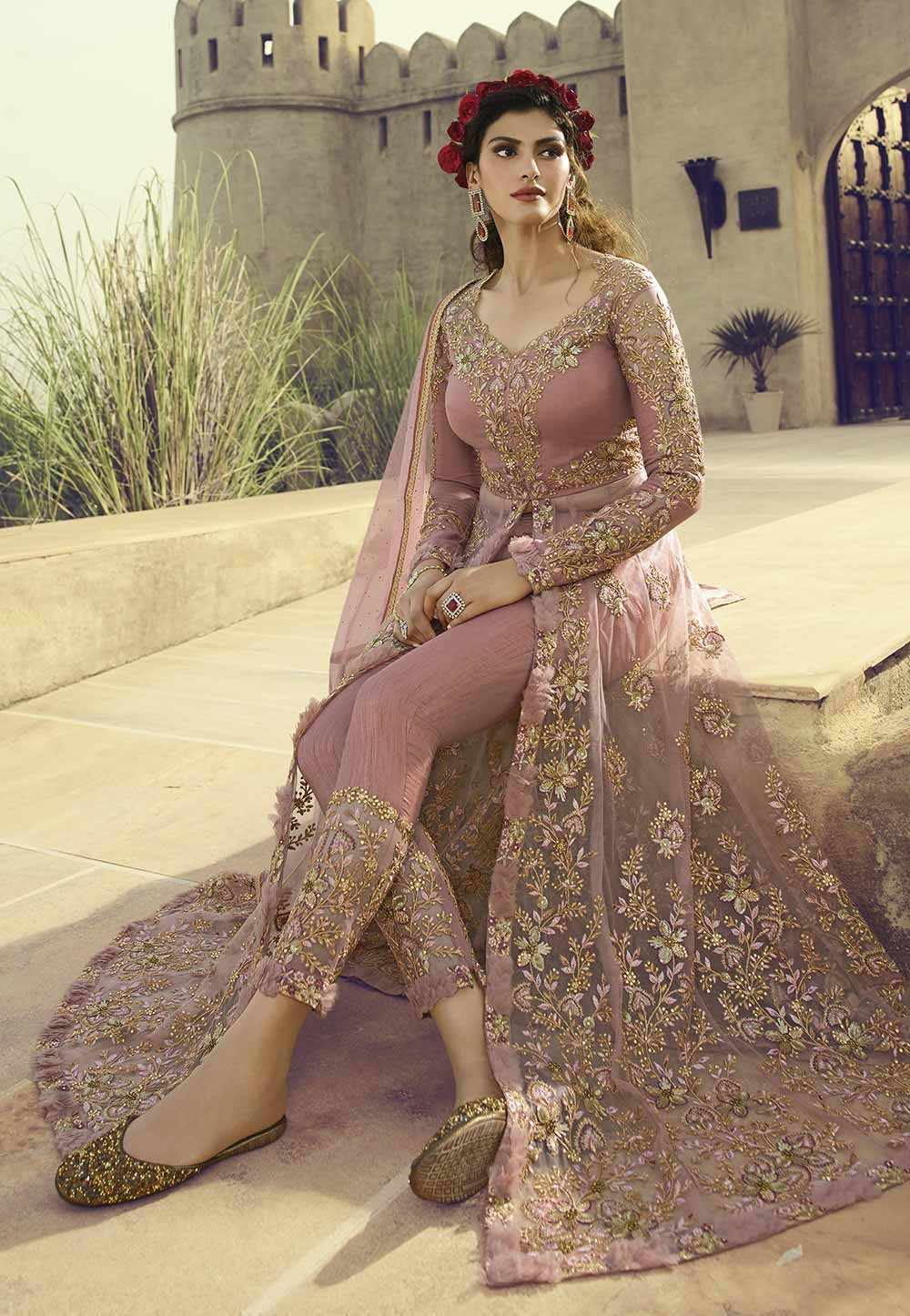 Beige,Peach Colour Women Designer Salwar Suit.