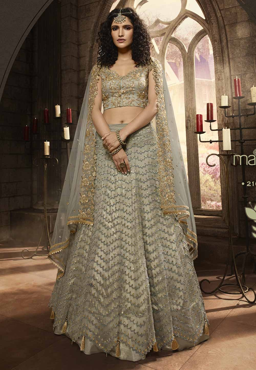 Grey Colour Designer Lehenga Choli.