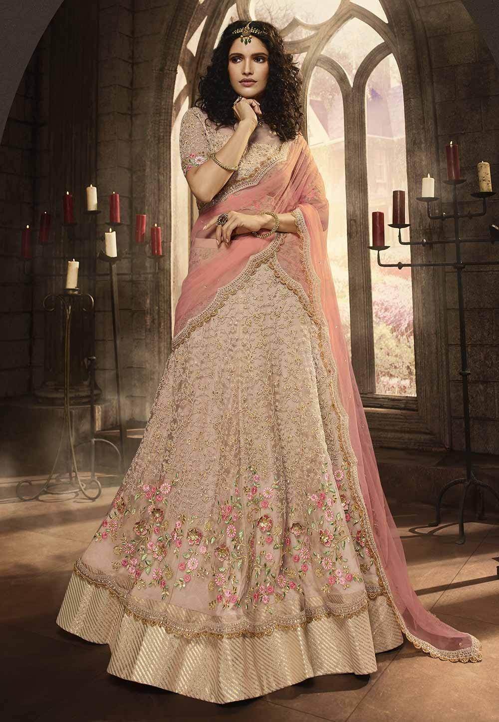 Indian Wedding Lehenga Choli Pink,Peach Colour.