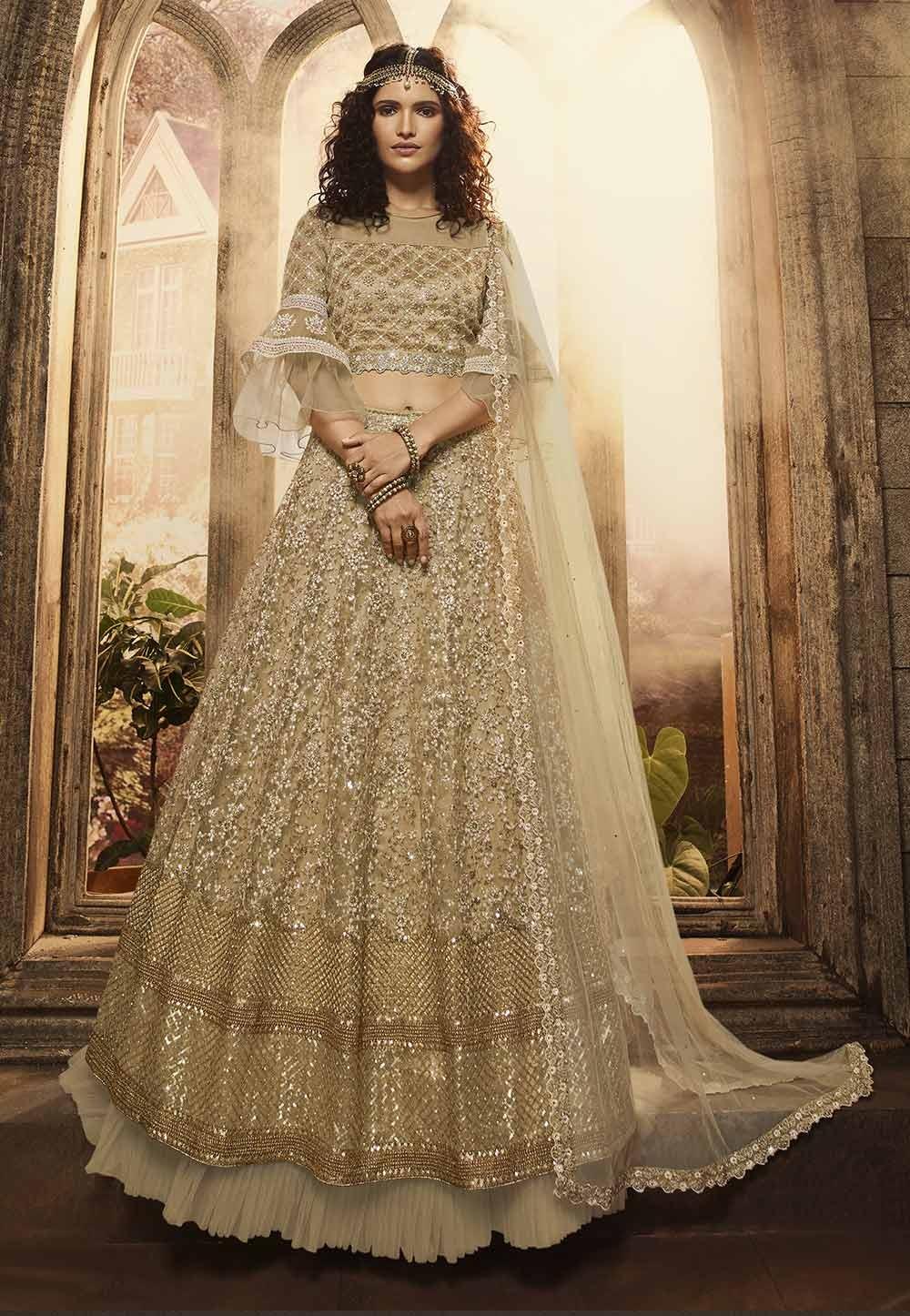 Beige,Golden Colour Wedding Lehenga Choli.