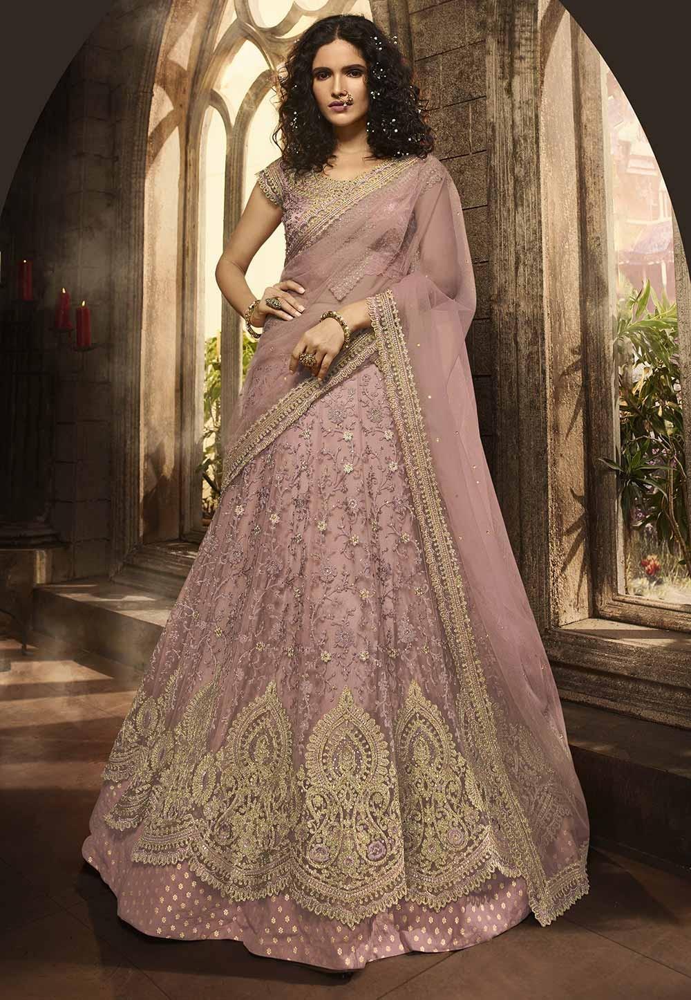 Pink,Purple Colour Party Wear Lehenga Choli.
