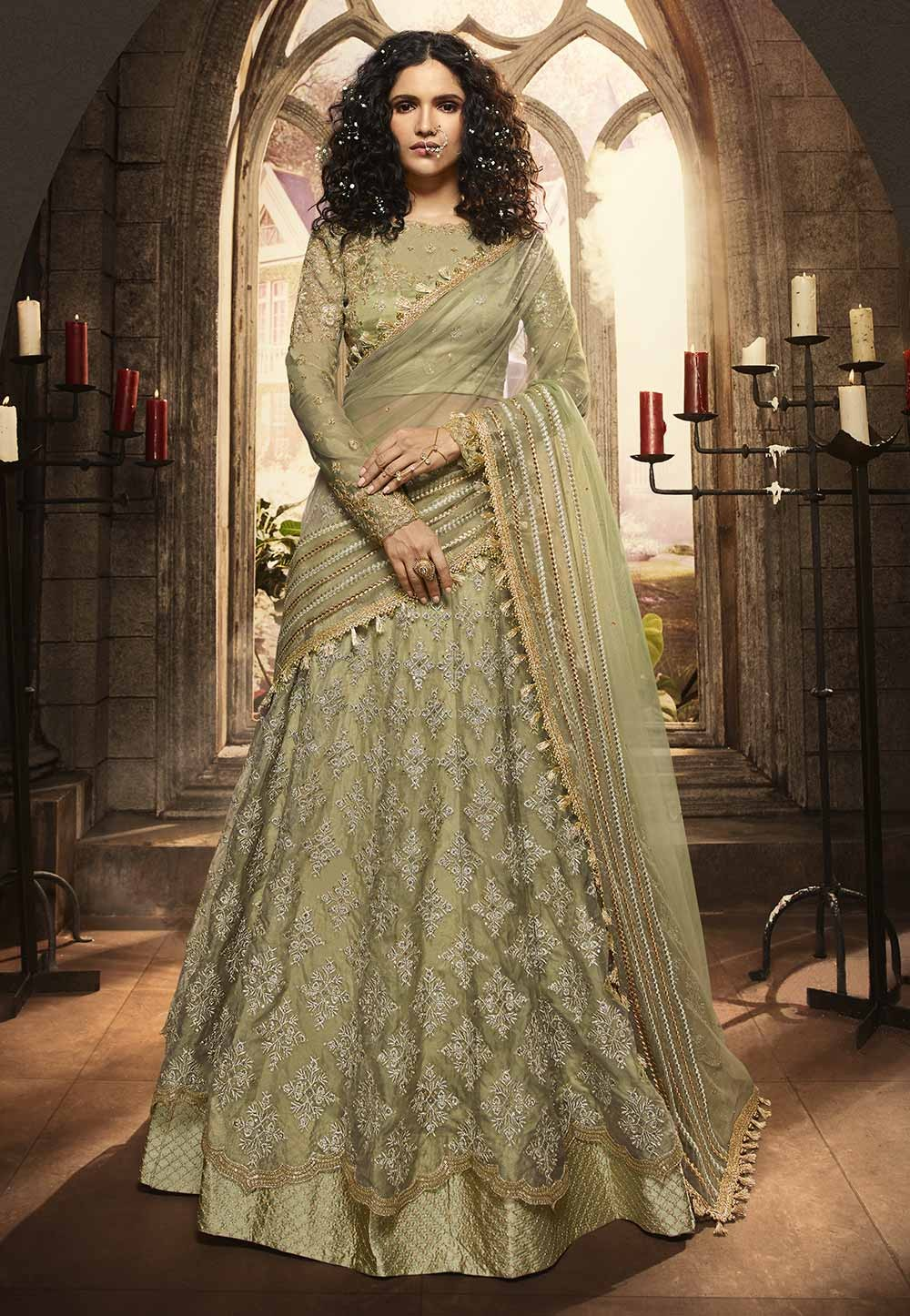 Green Colour Indian Designer Lehenga Choli.