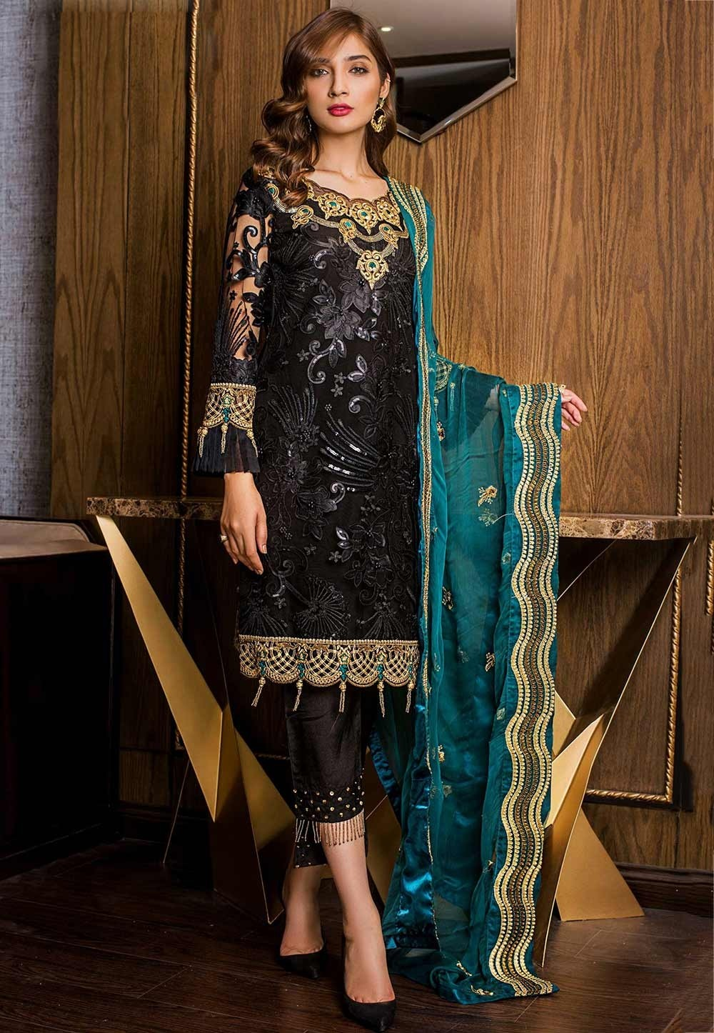 Black Colour Net Embroidery Salwar Suit.
