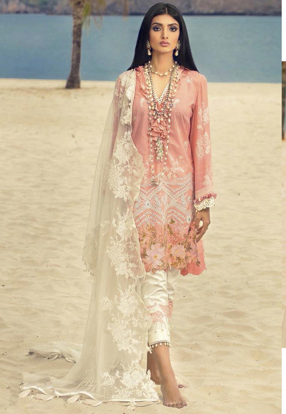 Peach Colour Net,Cotton Salwar Suit.