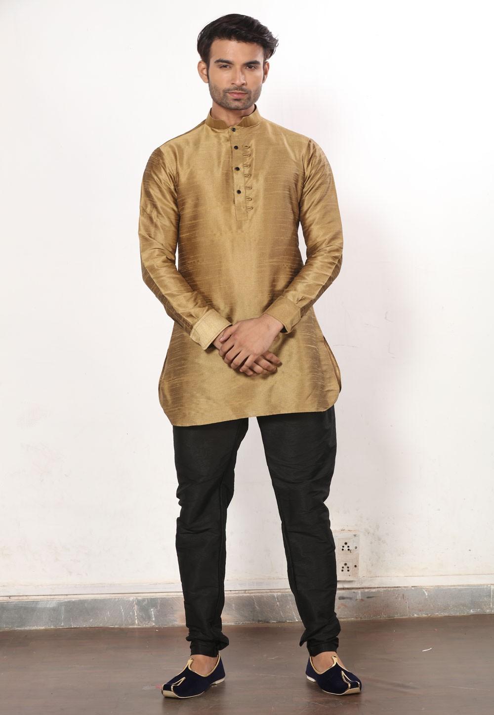 Beige Color Dupion Silk Men's Readymade Kurta Pajama.