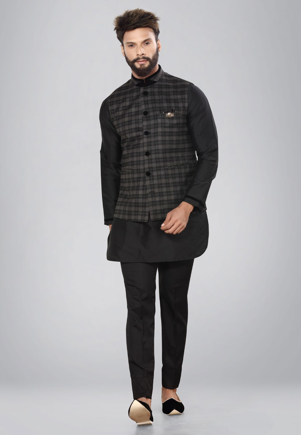 Buy Latest Black kurta pajama with nehru jacket