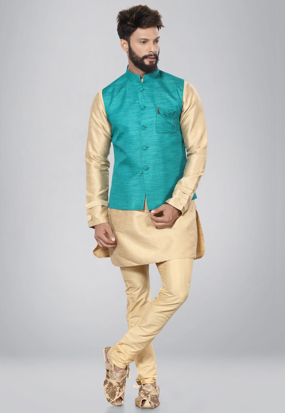 Buy cream Pathani kurta pajama online