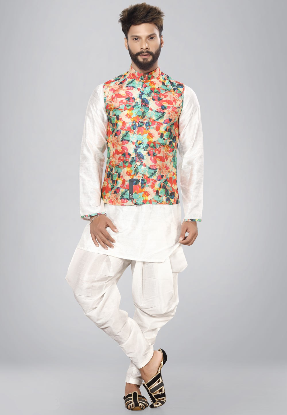Buy white color kurta pajama with jacket