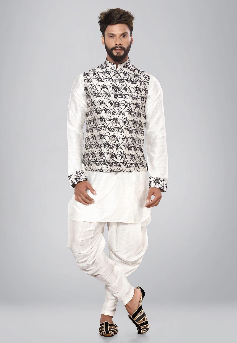 Buy white,black color latest kurta pajama with nehru jacket
