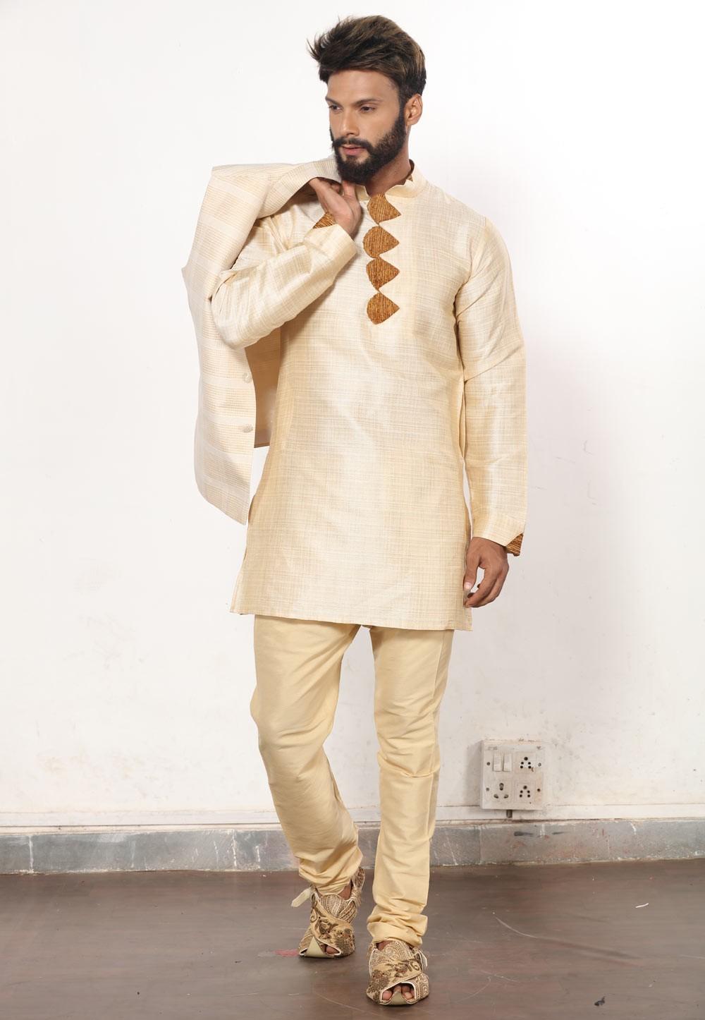 Men's Exquisite Golden Color Dupion Silk Readymade Kurta Pajama.