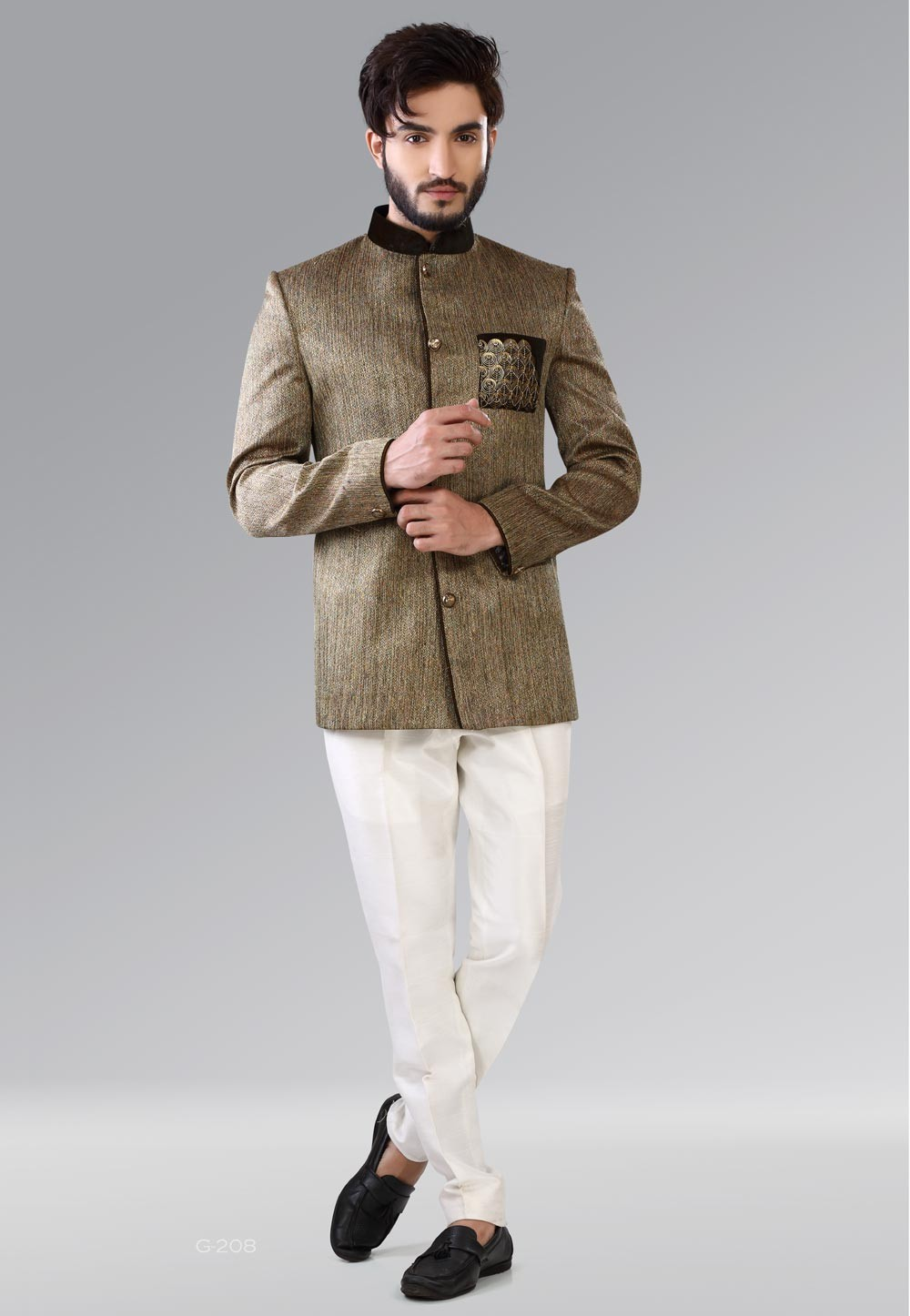 Green,Brown Color Elegant Mens Jodhpuri Suits Online India