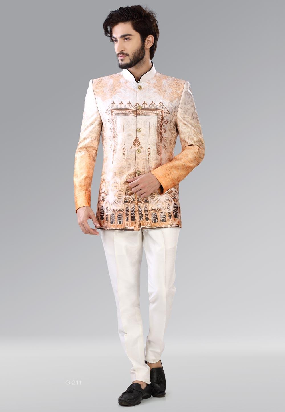 Bandhgala impressive brown, beige color Jodhpuri Suit for Mens Online USA
