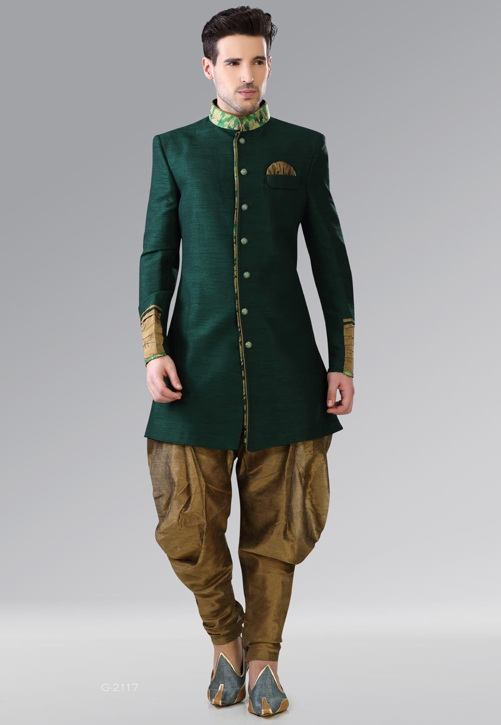 Men's Striking Green Color & Art Silk Men's Indo Western