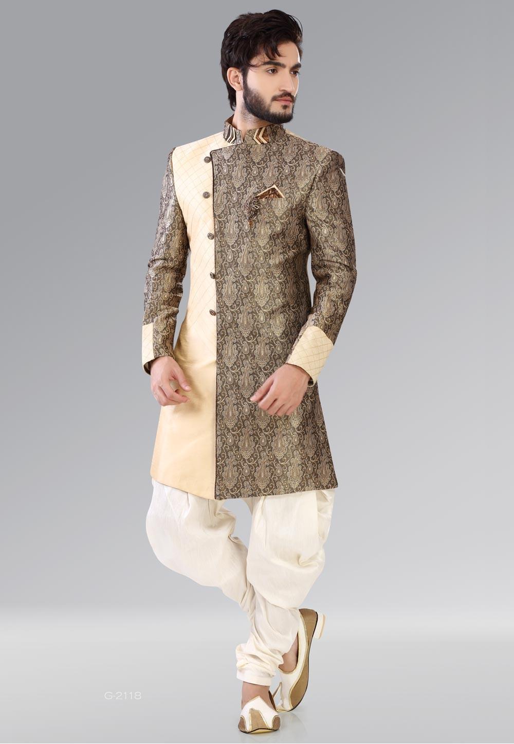 Striking Cream,Brown Color Men's Indo Western