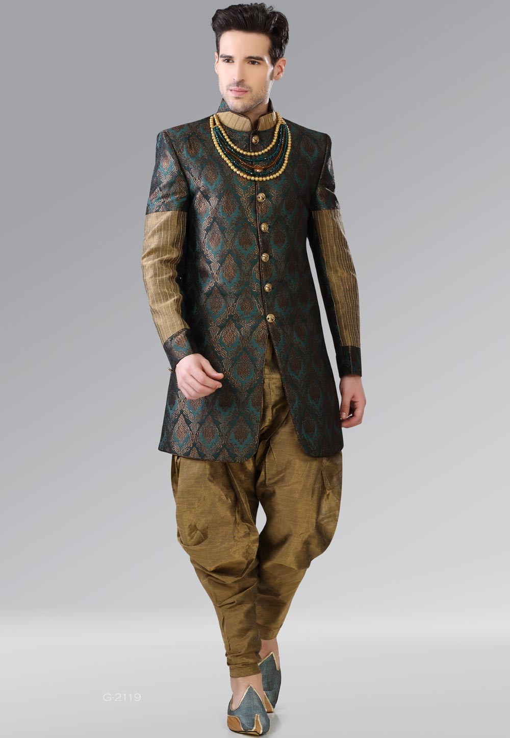 Green,Golden Color Brocade Men's Indo Western
