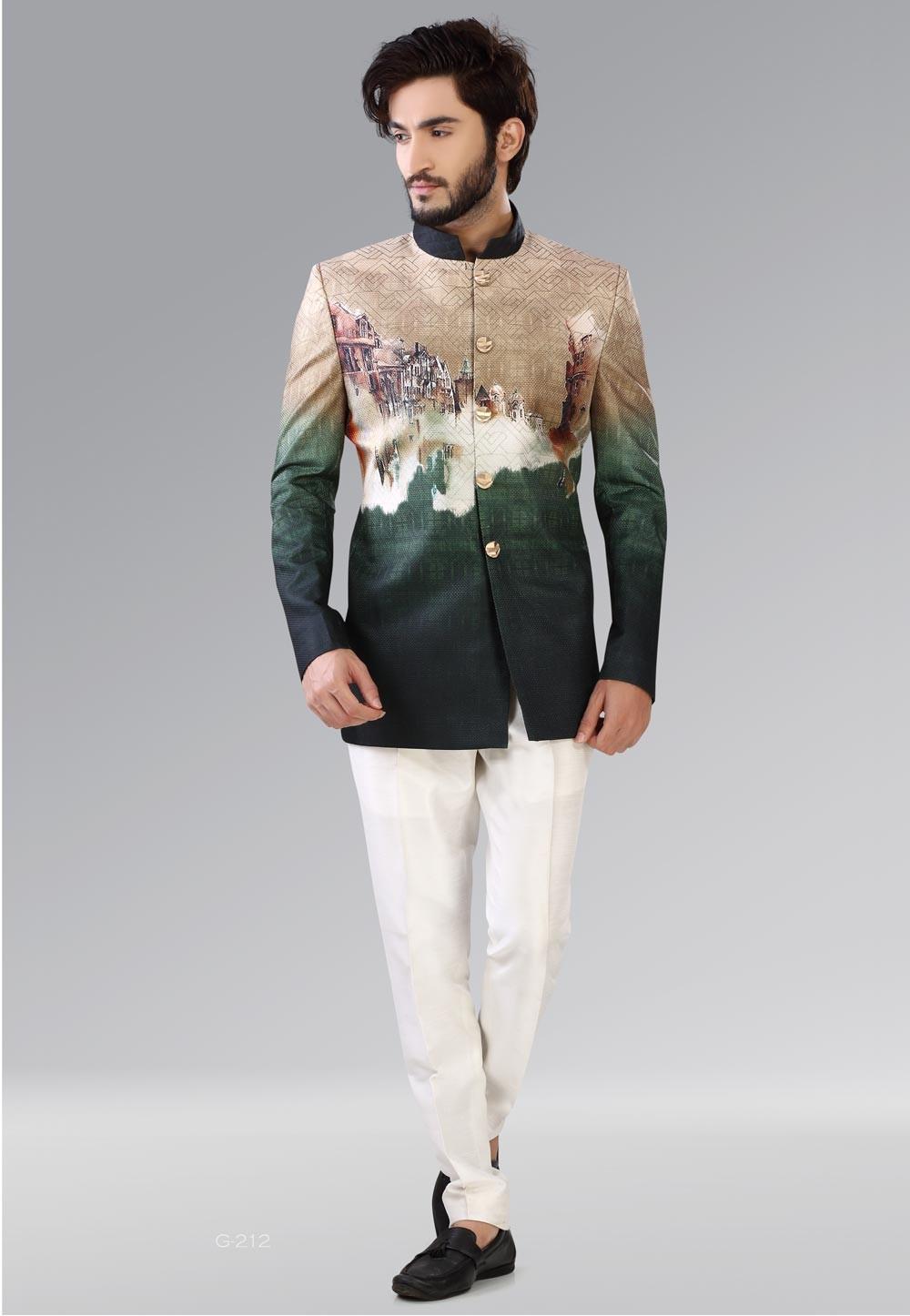 Green,Cream Color Designer Mens Jodhpuri Suits Online India