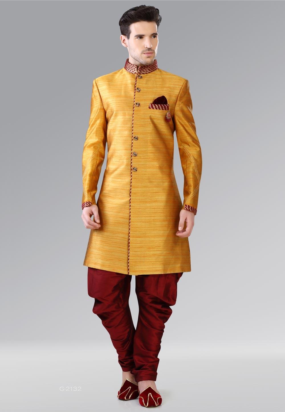 Attractive Yellow Color Banarasi Silk Men's Indo Western