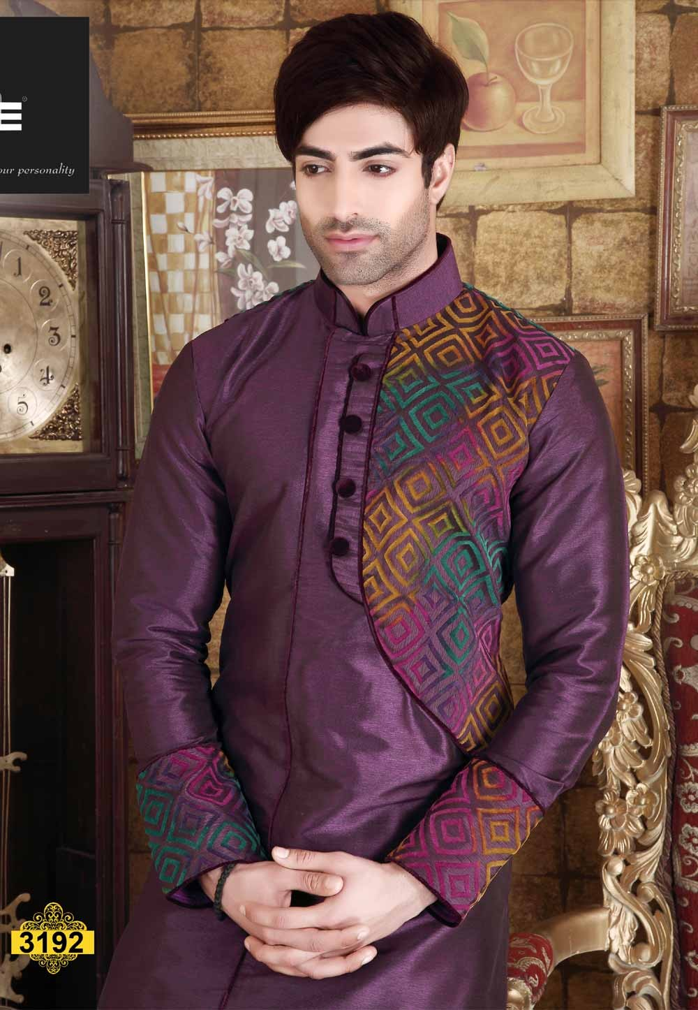 Maroon Color Banarasi Silk Readymade Kurta Pajama.