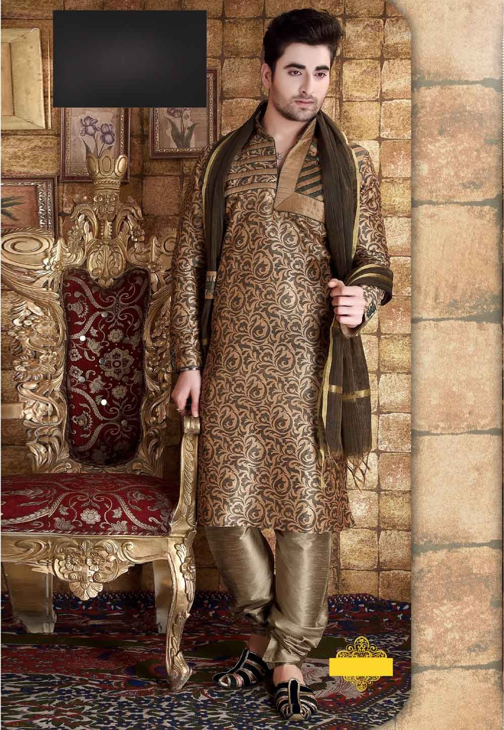 Beige,Green Color Readymade Kurta Pajama With Printed Work