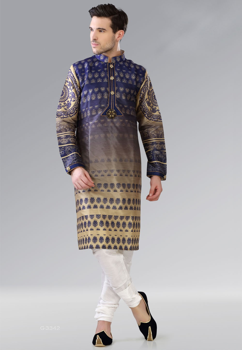 Men's Exquisite Dupion Silk & Beige,Blue Color Readymade Kurta Pajama.