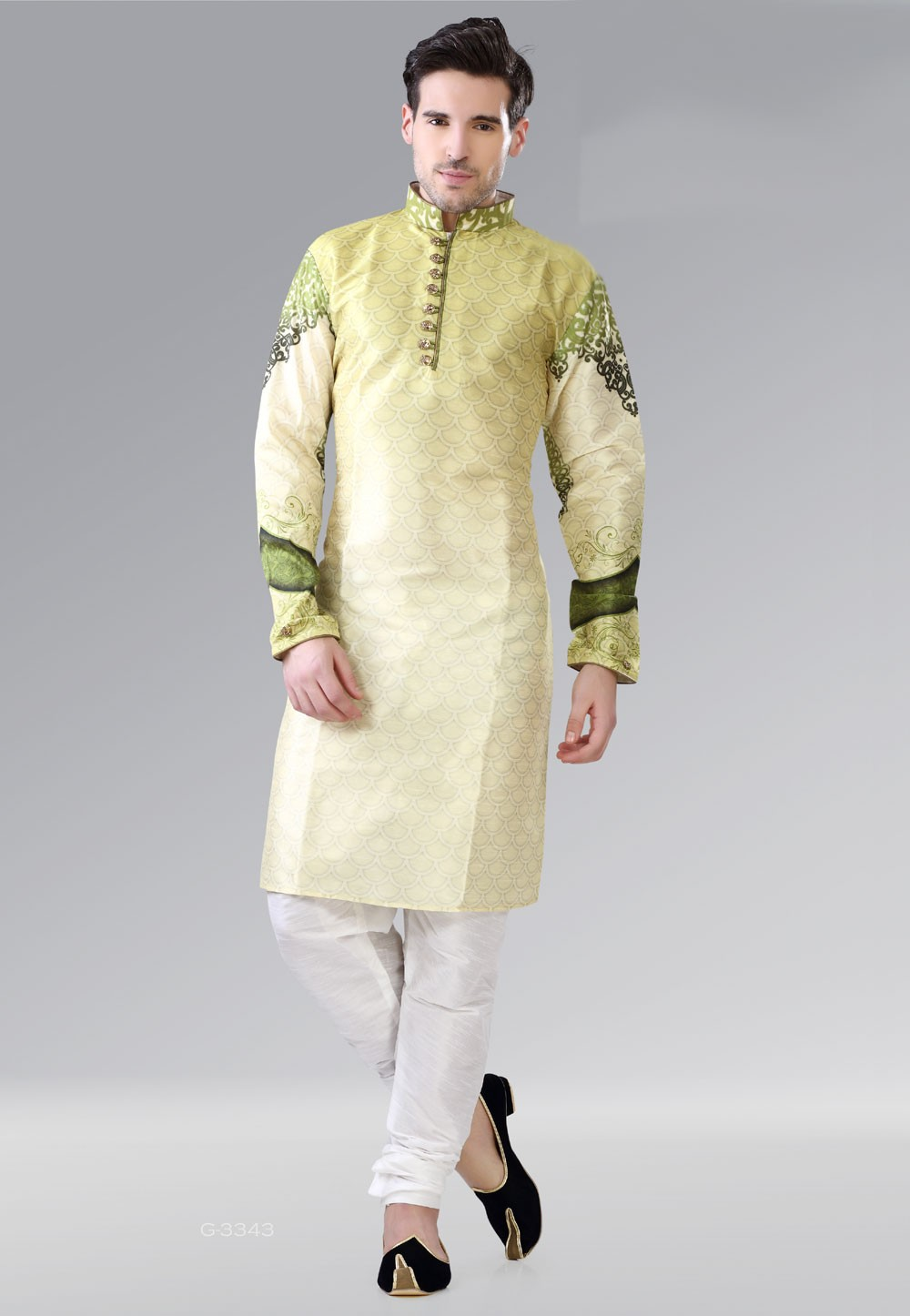 Fashionable Men's Yellow,Green Color Readymade Kurta Pajama.