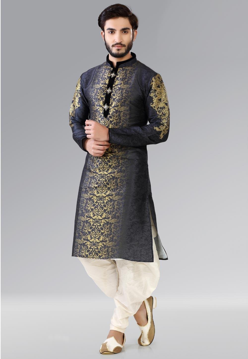Astounding Black,Golden Color Readymade Kurta Pajama.