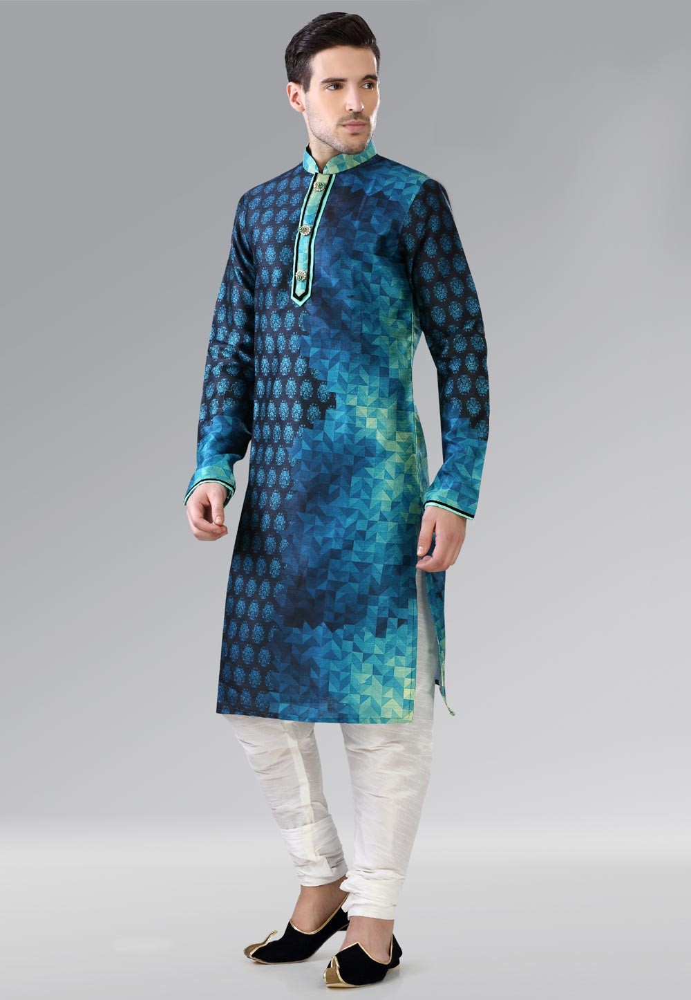 Blue,Turquoise Color Dupion Silk Readymade Kurta Pajama.
