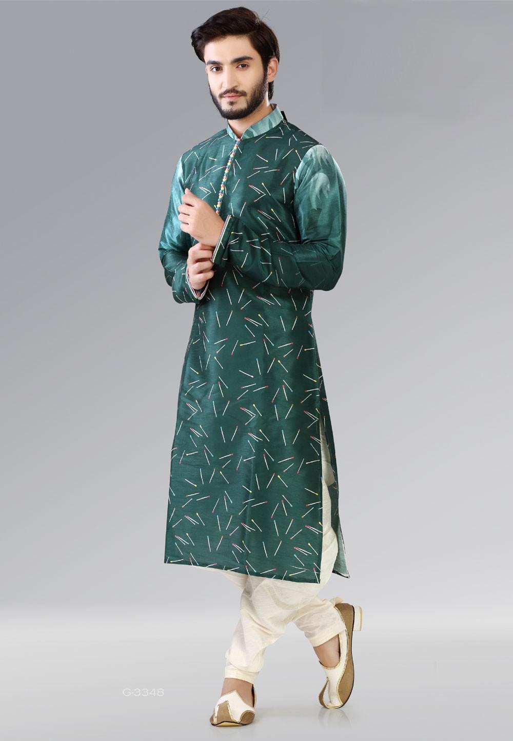 Exquisite Dark Green Color Dupion Silk Readymade Kurta Pajama.