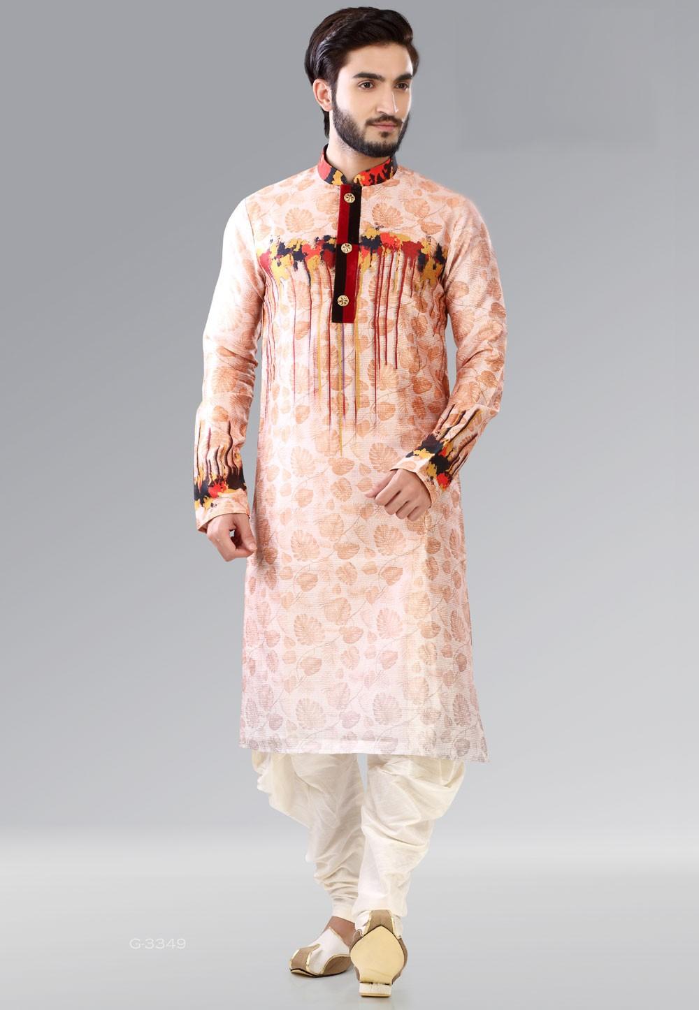 Men's Peach Color & Dupion Silk Readymade Kurta Pajama.
