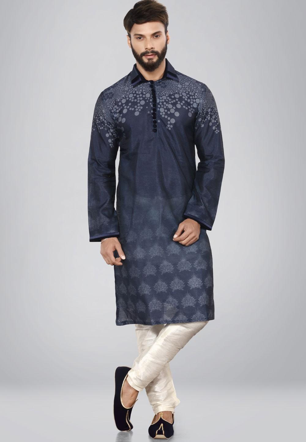 Blue Dupion Silk Kurta Pajama.
