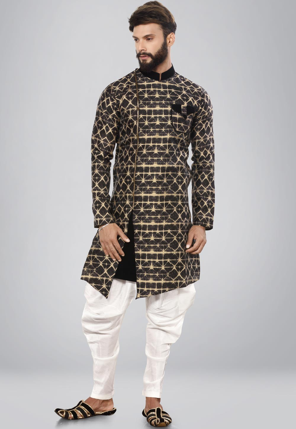 Black,Beige Color Men's Indo Western