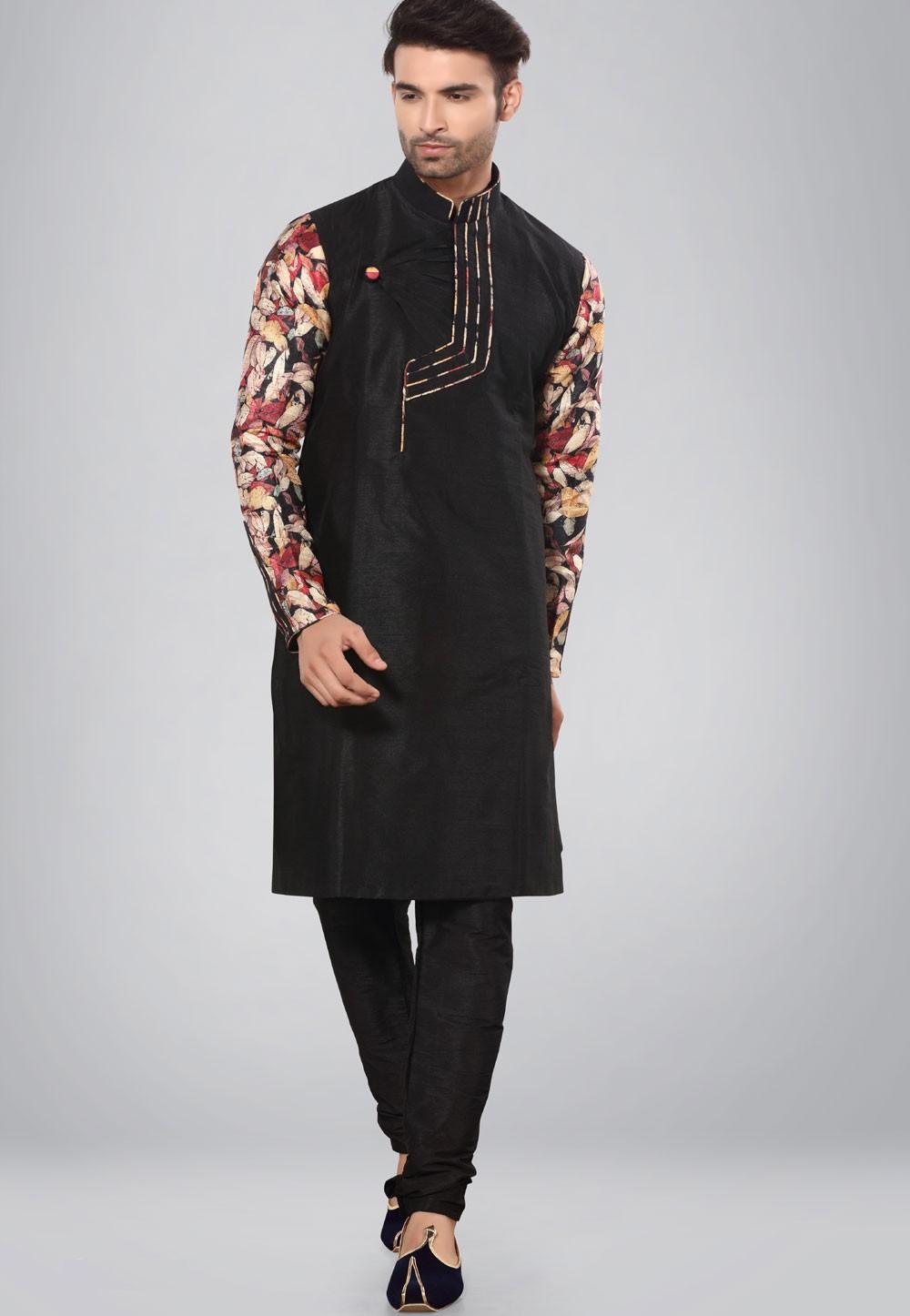 Black Color Dupion Silk Kurta Pajama.