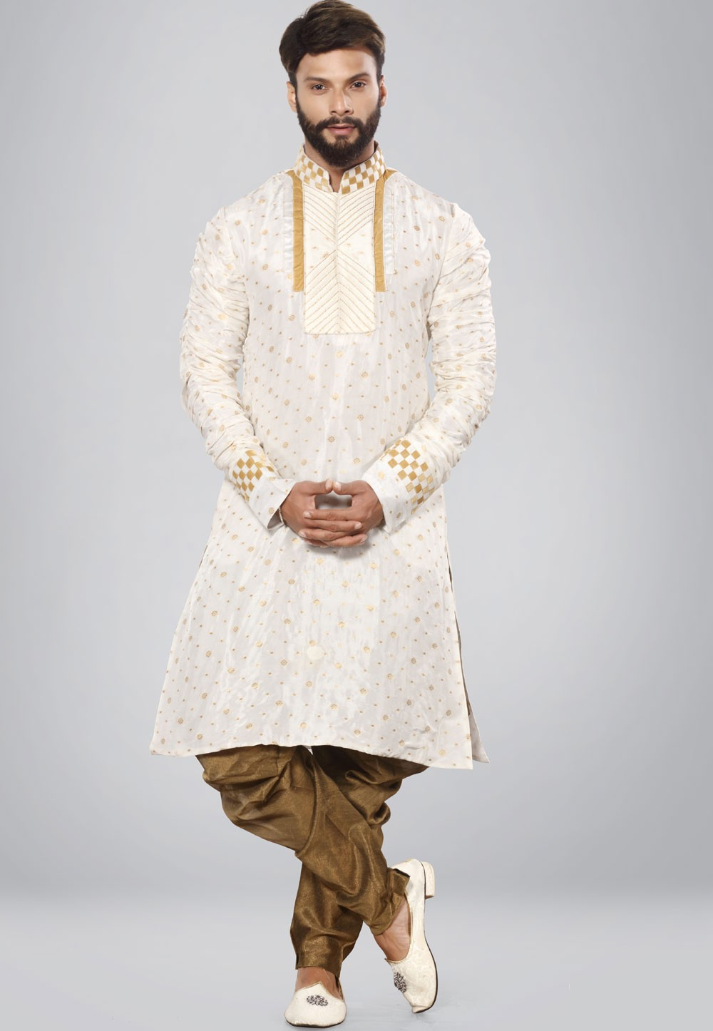 Exquisite Men's White,Golden Color Readymade Kurta Set