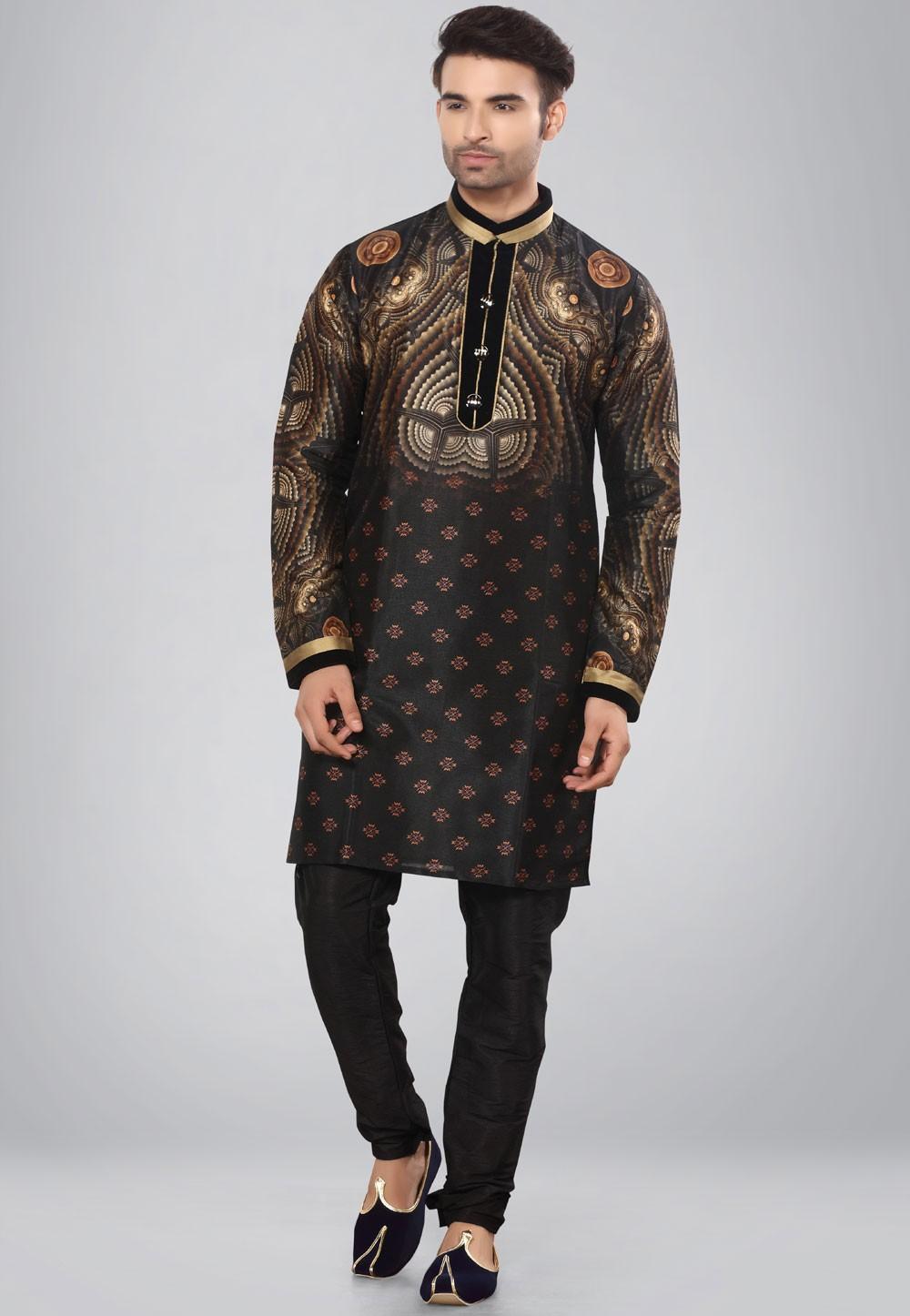 Black,Golden Color Dupion Silk Kurta Pajama.