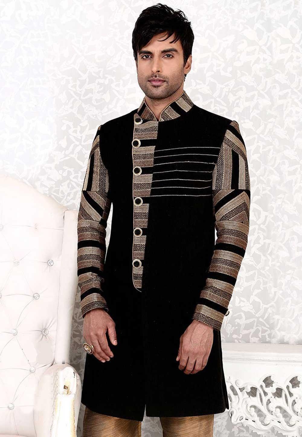 Tranquil Black Color & Jute Fabric Men`S Wear