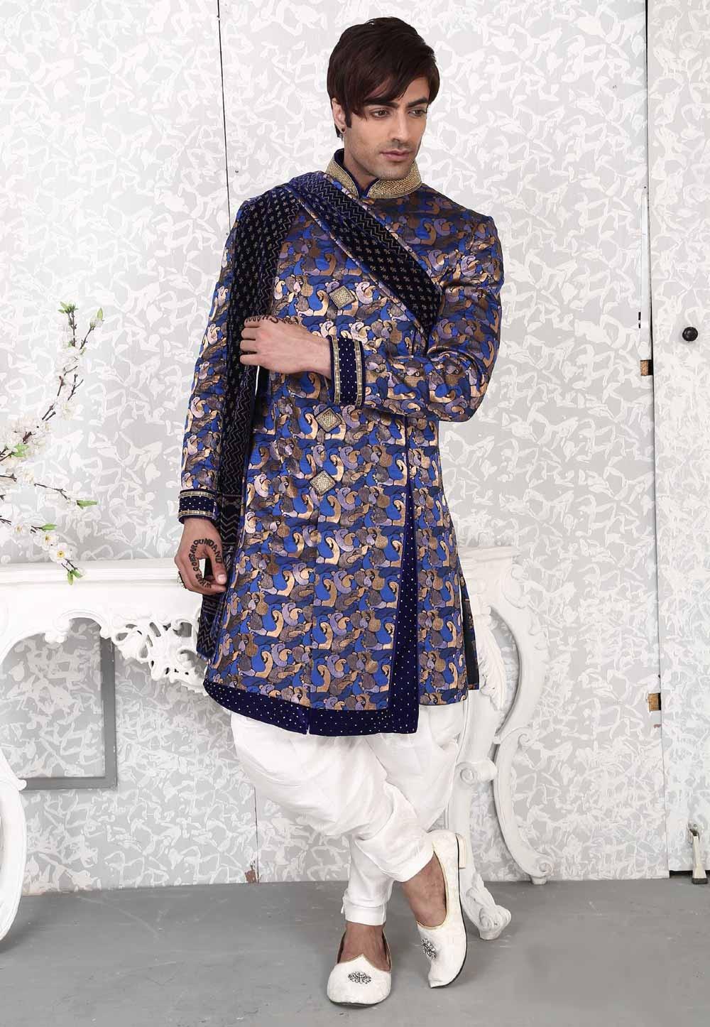 Velvet,Brocade Fabric Royal Blue Men's Indo Western
