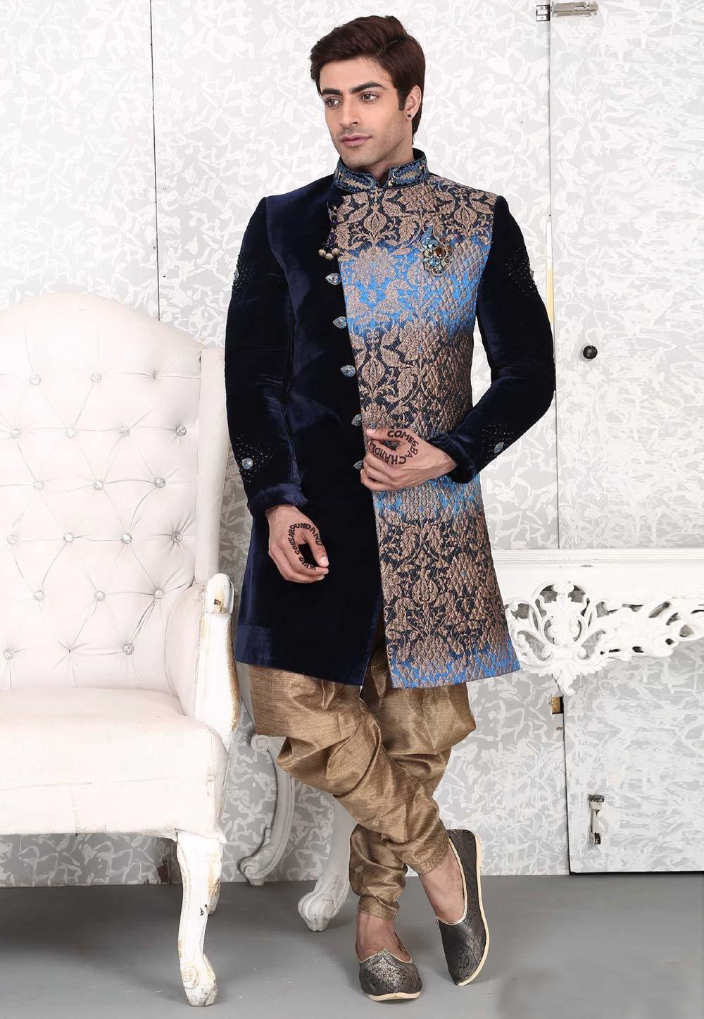 Fabulous Navy Blue Color Velvet,Brocade Fabric Men`S Wear