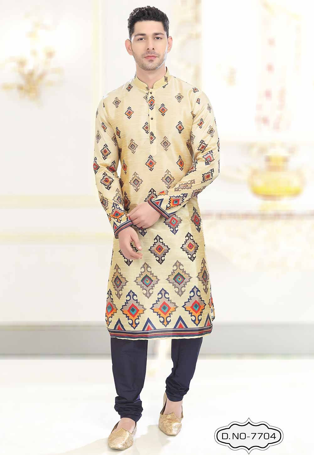 Beige Colour Traditional Indian kurta pajama for mens