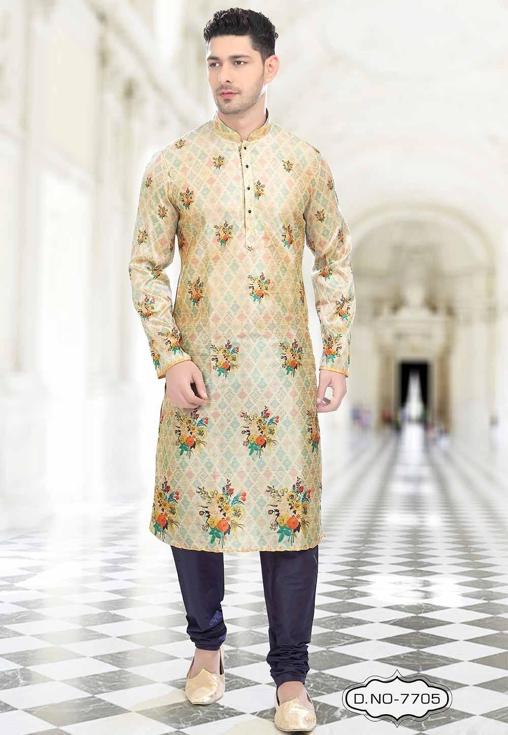 Buy designer kurta pajama in Beige Colour