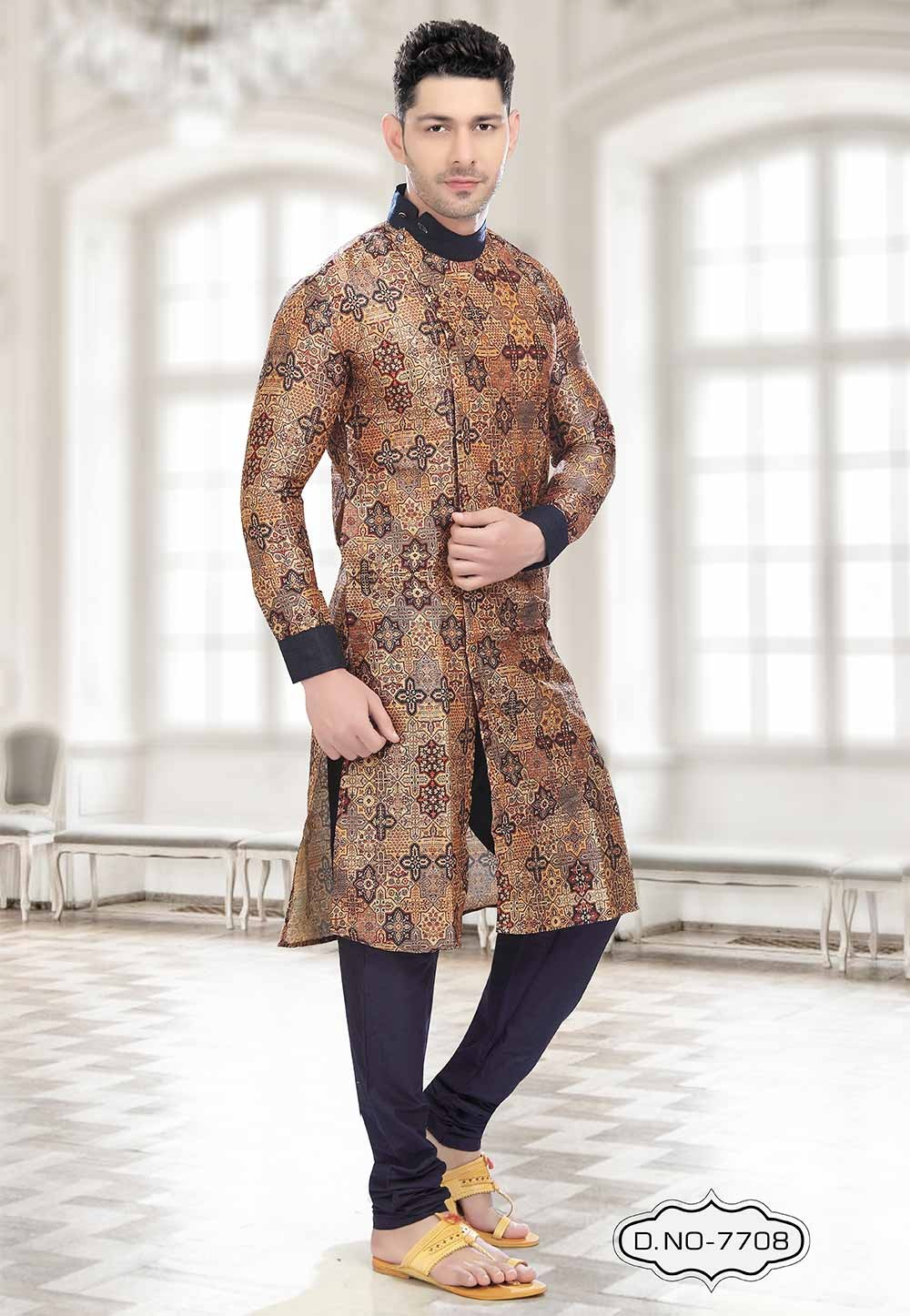 Buy kurta pajama online in Orange,Blue Colour
