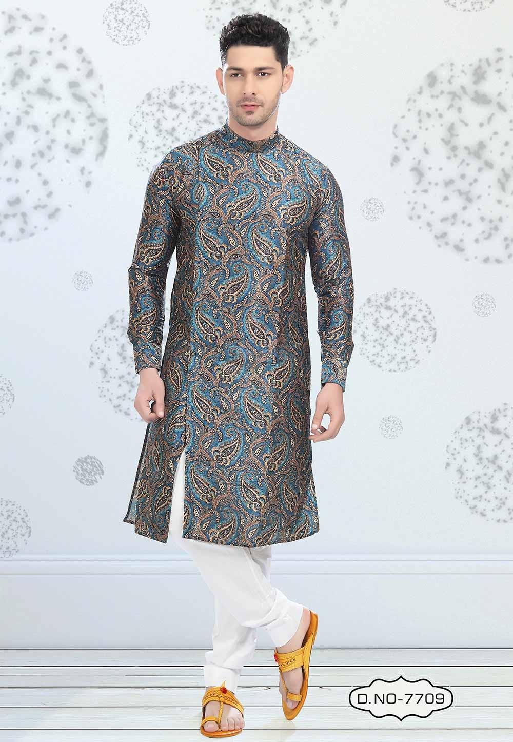 Blue Colour Printed Kurta Pajama.