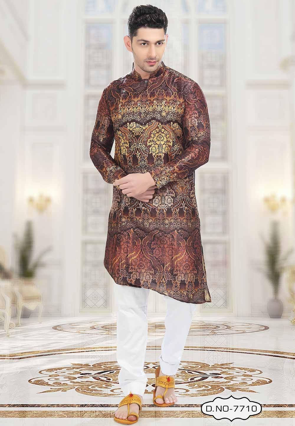 Buy designer kurta pajama in Brown Colour
