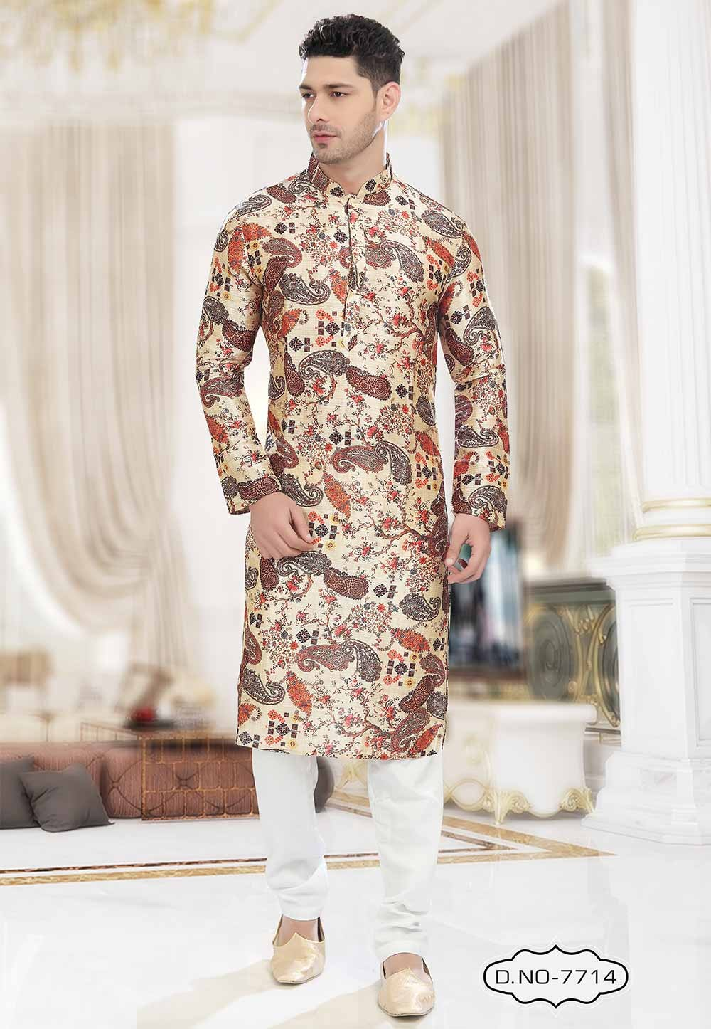 Buy kurta pyjama online in Multi Colour Printed Kurta