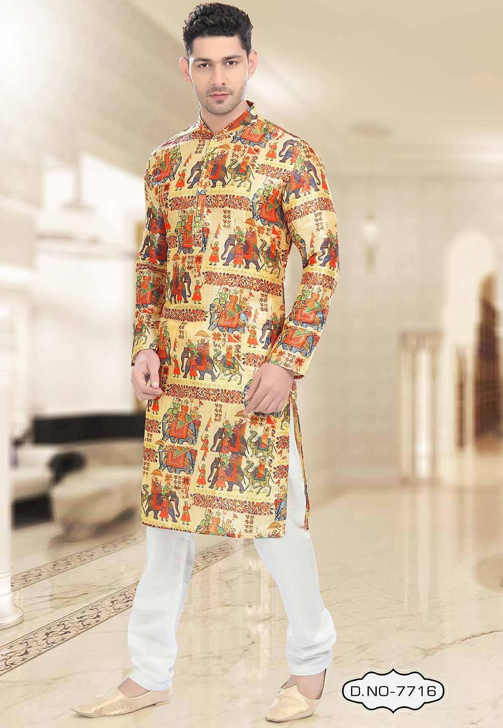Yellow Colour Readymade Kurta Pajama.
