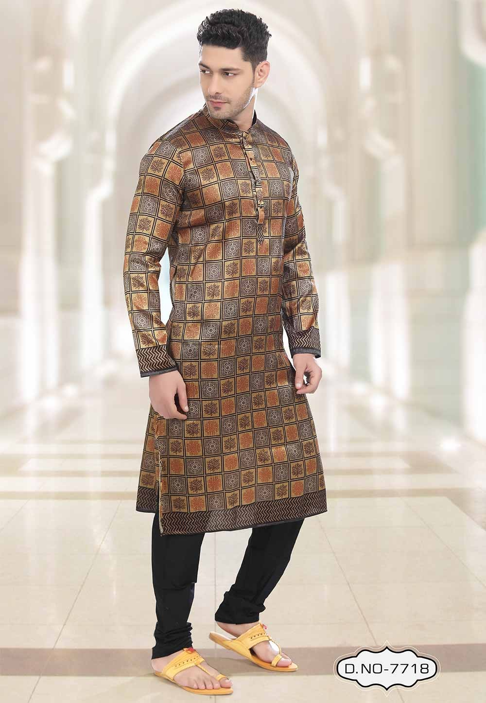 Beige,Brown Colour Party Wear Kurta Pajama.