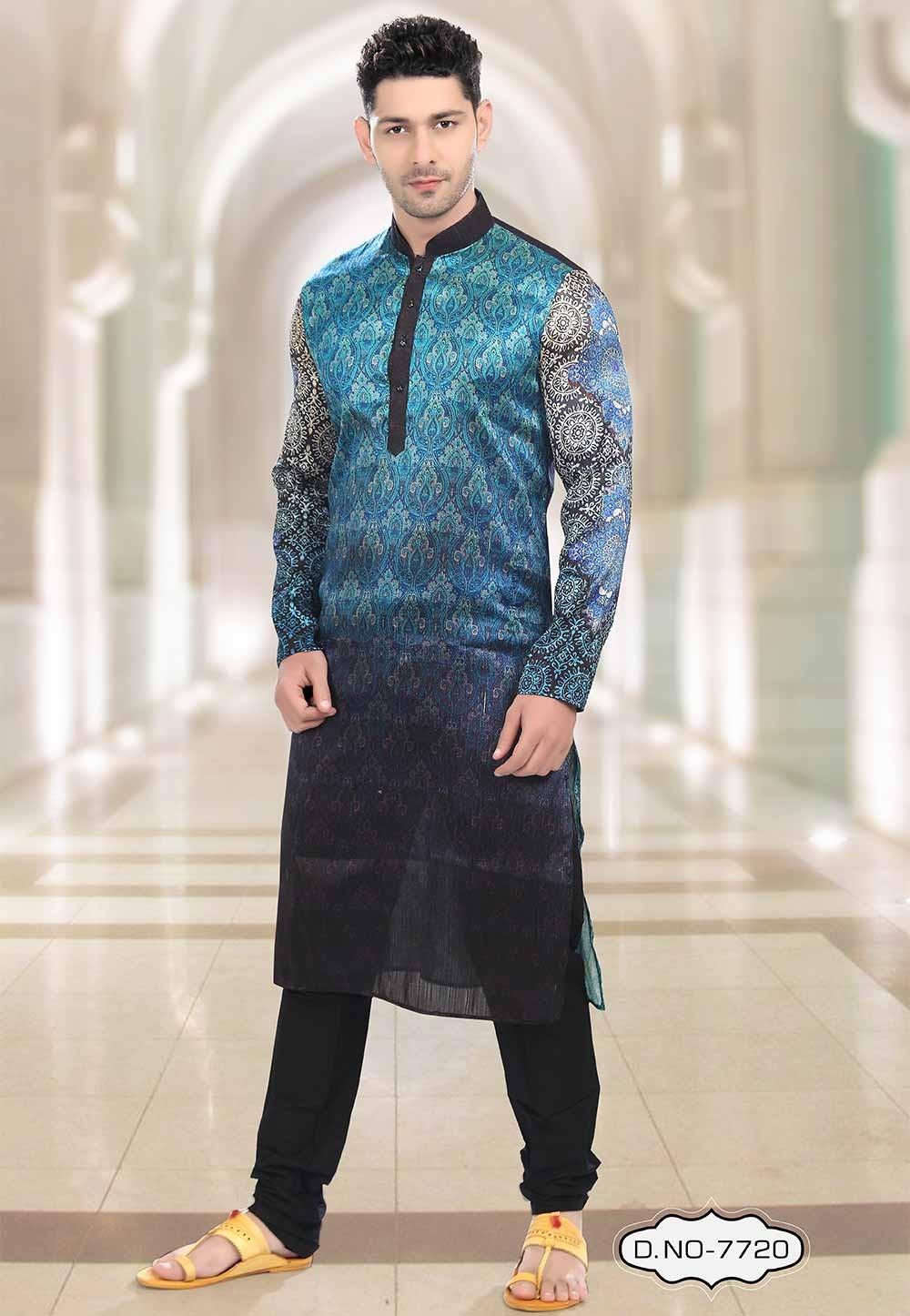 Buy Blue,Black Colour Indian kurta pajama