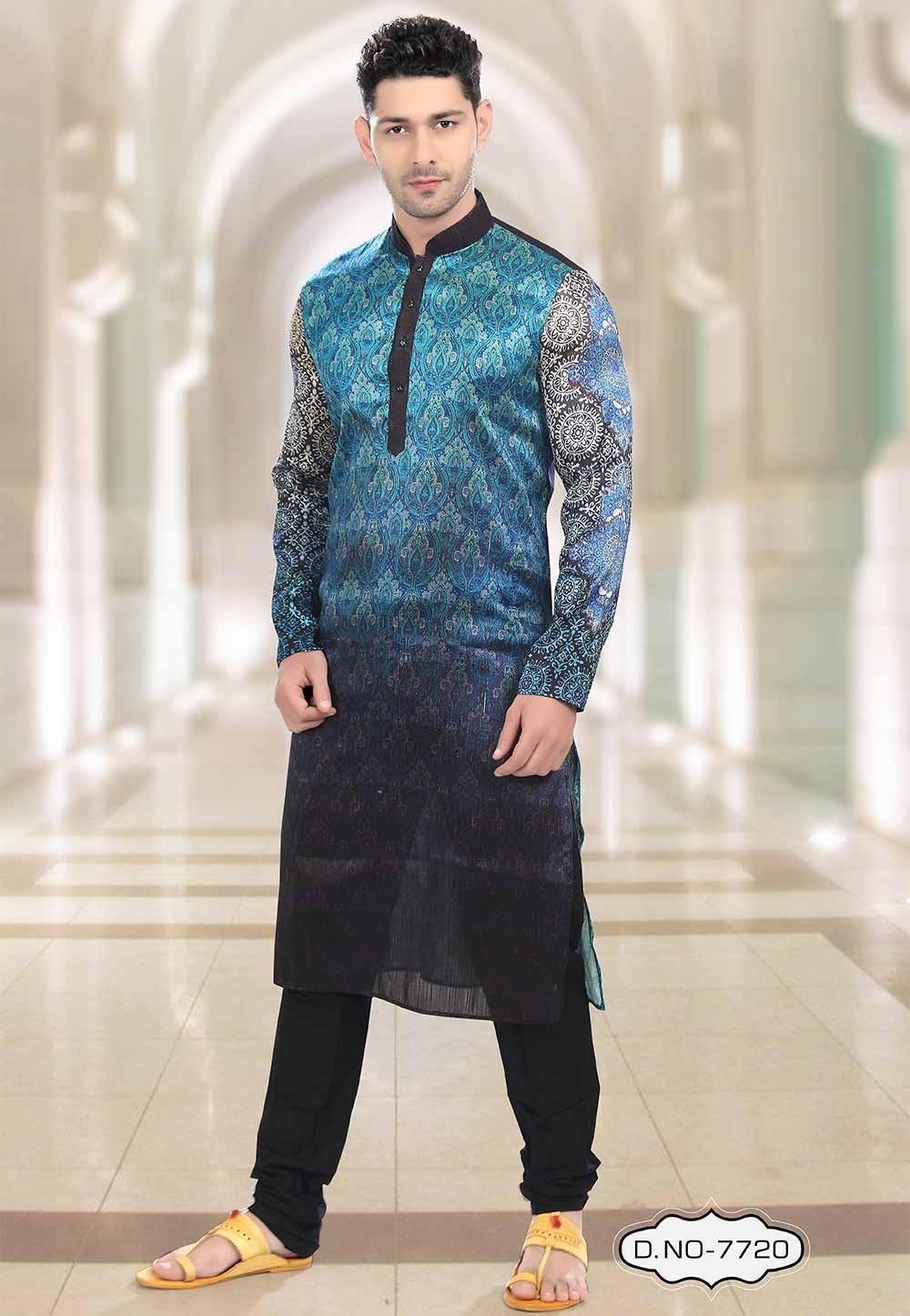 Buy kurta pyjama online in Blue,Black Colour Party Wear Kurta